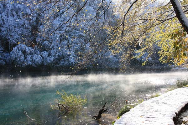 Plitvice Lakes Private Tour Winter Snow